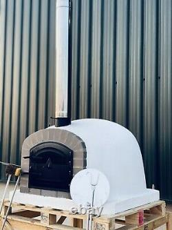 110x110cm Brick Outdoor Pizza Oven With Chrome Flue And Cap