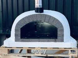 120x120cm Half Dome Brick Outdoor Pizza Ovens With Chrome Flue And Cap