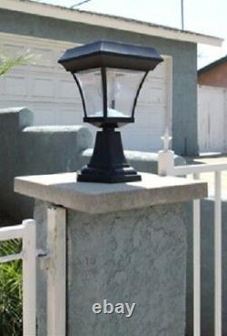 2-Pk Solar Fence Gate Post Light With 4 LEDs For Wood Mason Stone Brick Concrete