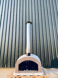 90x90cm Half Dome Brick Outdoor Pizza Ovens Chrome Flute And Cap