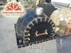 AMAZING BRICK WOOD FIRED OUTDOOR GARDEN PIZZA OVEN 100x100 BLACK STONE SLATE