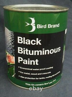 Bird Brand Black Bitumen/Bituminous Paint Protects Metal, Brick and Stone 1L