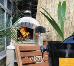 Brick Wood Fired Outdoor Pizza Oven 100cm White Deluxe DAMAGED