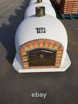 Brick Wood Fired Outdoor Pizza Oven 100cm White Deluxe model Wooden- BBQ