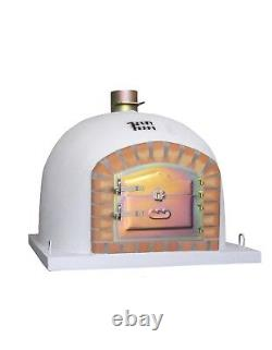 Brick Wood Fired Outdoor Pizza Oven 100cm White Deluxe model Wooden- BBQ Quality