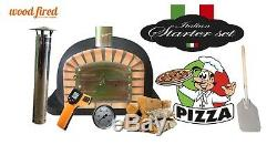 Brick outdoor wood fired Pizza oven 100cm Deluxe extra model black package