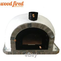 Brick outdoor wood fired Pizza oven 100cm Pro Deluxe stone arch & trim