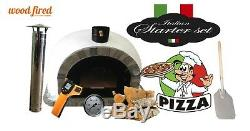 Brick outdoor wood fired Pizza oven 100cm Pro Deluxe stone arch & trim package