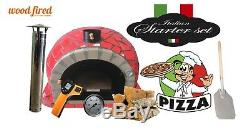 Brick outdoor wood fired Pizza oven 100cm Pro deluxe red ceramic model package