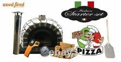 Brick outdoor wood fired Pizza oven 100cm Pro deluxe white ceramic + cast door