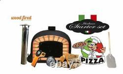 Brick outdoor wood fired Pizza oven 100cm black Deluxe black door (package)