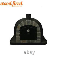 Brick outdoor wood fired Pizza oven 100cm black Deluxe extra model stone face