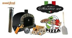 Brick outdoor wood fired Pizza oven 100cm black Deluxe extra stone face -package