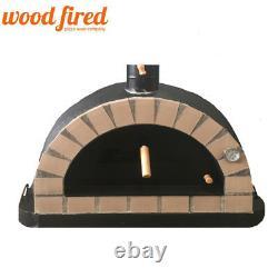 Brick outdoor wood fired Pizza oven 100cm black Pro-Italian cream brick