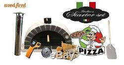 Brick outdoor wood fired Pizza oven 100cm grey Pro-Italian grey brick package