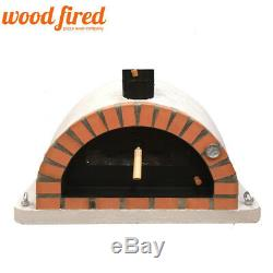 Brick outdoor wood fired Pizza oven 100cm grey Pro-Italian orange brick