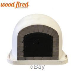 Brick outdoor wood fired Pizza oven 100cm grey-brick/black-door