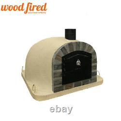 Brick outdoor wood fired Pizza oven 100cm sand Deluxe extra model stone face