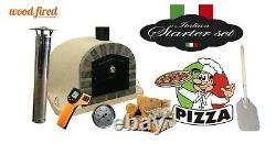 Brick outdoor wood fired Pizza oven 100cm sand Deluxe extra stone face -package