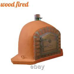 Brick outdoor wood fired Pizza oven 100cm terracotta corner Deluxe model