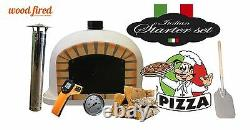Brick outdoor wood fired Pizza oven 100cm white Deluxe black door (package deal)