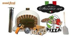 Brick outdoor wood fired Pizza oven 100cm white Deluxe model (package deal)