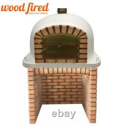 Brick outdoor wood fired Pizza oven 100cm white Deluxe model with matching stand