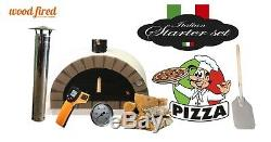 Brick outdoor wood fired Pizza oven 100cm white Pro-Italian cream brick package
