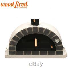 Brick outdoor wood fired Pizza oven 100cm white Pro-Italian grey brick