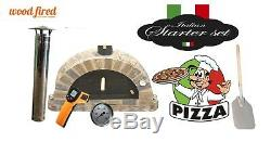 Brick outdoor wood fired Pizza oven 100cm white Pro-Italian stone package