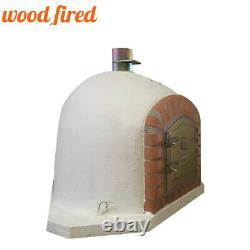 Brick outdoor wood fired Pizza oven 100cm white corner Deluxe model