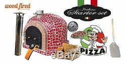 Brick outdoor wood fired Pizza oven 100cm x 100cm Mosaic red model and package