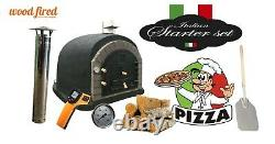 Brick outdoor wood fired Pizza oven 100cm x 100cm black superior grey arch