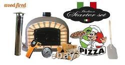 Brick outdoor wood fired Pizza oven 110cm brown Deluxe black door (package)