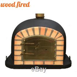 Brick outdoor wood fired Pizza oven 120cm black Deluxe model