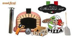 Brick outdoor wood fired Pizza oven 120cm brick red Deluxe black door (package)