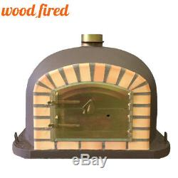 Brick outdoor wood fired Pizza oven 120cm brown Deluxe model