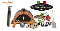 Brick outdoor wood fired Pizza oven 120cm brown Pro-Italian orange brick package