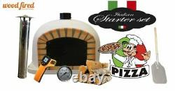 Brick outdoor wood fired Pizza oven 120cm white Deluxe black door (package)