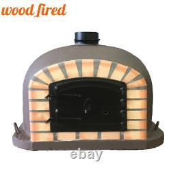 Brick outdoor wood fired Pizza oven 70cm brown Deluxe model black door