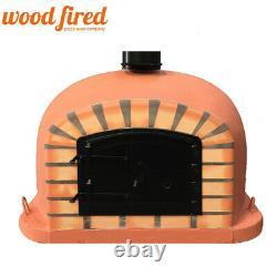 Brick outdoor wood fired Pizza oven 70cm terracotta Deluxe model black door