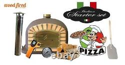Brick outdoor wood fired Pizza oven 80cm Brown Deluxe model (package deal)