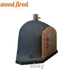 Brick outdoor wood fired Pizza oven 80cm black corner Deluxe model