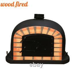 Brick outdoor wood fired Pizza oven 80cm black supreme, orange arch, black door