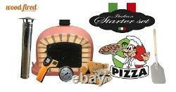 Brick outdoor wood fired Pizza oven 80cm brick red Deluxe black door (package)