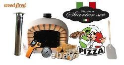 Brick outdoor wood fired Pizza oven 80cm grey Deluxe black door (package deal)