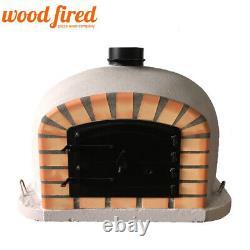 Brick outdoor wood fired Pizza oven 80cm grey Deluxe model black door