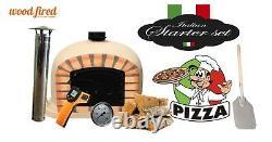 Brick outdoor wood fired Pizza oven 80cm sand Deluxe black door (package deal)