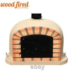 Brick outdoor wood fired Pizza oven 80cm sand Deluxe model black door
