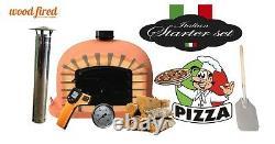 Brick outdoor wood fired Pizza oven 80cm terracotta Deluxe black door (package)